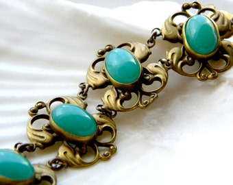 Antique ornate gilt brass and chrysoprase glass bracelet - vintage jewelry