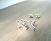 Tiny cross earrings studs - Cross silver studs - 925 stamped jewelry - Simple modern christian faith jewelry - CAPERNAUM CROSS