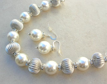DAZZLING Wedding/Party Pearls & Festive Silver Beads, White Pearls, Silver Chain,  Rhinestone Spacers, Necklace Set by SandraDesigns