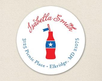 Vintage Coke Bottle Address Labels / Picnic Address Labels / 4th of July Address Labels - Sheet of 24