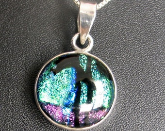 SALE Blue Green  Black Stripe Dichroic  Glass and  Sterling Silver Pendant