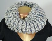 Grey & Blue Chic Mohair Knit Cozie Infinity Circle Scarf Cowl