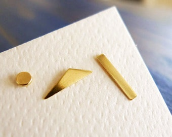 SALE. DADA. Gold Geometry. Simple Geometrical Shapes Stud. Unisex Man or Woman. One 14K Gold Earring. Recycled Eco Friendly.