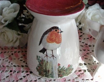 Robin on a Stump Ceramic Tea Light Tart Burner