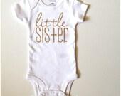 Gold glitter little sister bodysuit Paisley Prints original design