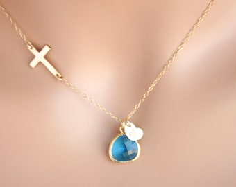 Gold Filled Sideways Cross Necklace  with initial Heart and Blue stone in bezel , customized letter , fashion Cross necklace , everyday wear