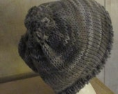 Wearable Art SCARF and hat set long ruffled Hand Crochet Scarf subtle shade of Grays scarf and hat set