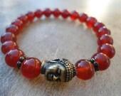 Energy Bracelet  Carnelian Bracelet Yoga Bracelet  Yoga Jewelry Zen Gift Stack Bracelet  Stackable Bracelet  Yoga Teacher Gift  Buddha Charm