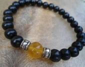 Mens Energy Bracelet Black Ebony Mens Yoga Bracelet Golden Fluorite Creativity Cooperation Mens Stack Bracelet Natural Ebony Yellow Gemstone
