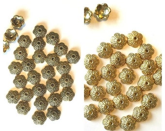 Gold Bead Caps 26 Findings for jewelry making supplies destash shiney or antiqued