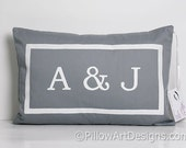 Personalized Grey Lumbar Pillow Cover with Initials Fully Lined 12X 18 Handmade in Canada
