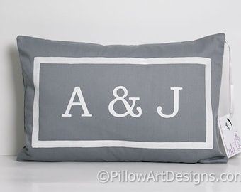 Personalized Grey Lumbar Pillow with Initials Fully Lined 12X 18 Insert Included Handmade in Canada