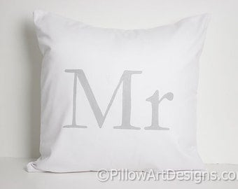 Mr Pillow Cover Grey and White 16 X 16 Made in Canada