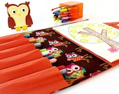 Brown Owls Crayon Artist Case with the option to be personalized with a name, Crayon bag, Art wallet, Crayon Wallet, Coloring tote, Art tote