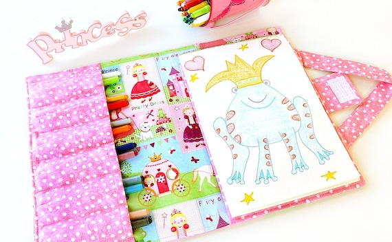 Princess Crayon Artist Case, Ready to ship, Large crayon wallet, Crayon holder, Artist portfolio, Art case, Crayon and paper holder for kids