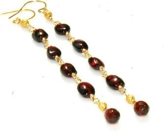 Red Garnet Earrings - Long Gold Garnet Earrings - Shoulder Duster - January Birthstone - Wire Wrapped Jewelry