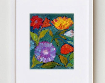 """Abstract Floral Painting, Bold Flowers Art Print 8x10"""", Contemporary Bohemian Floral Art for Home Decor #3"""