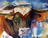 Texas Longhorn Watercolor Art Print by Maure Bausch