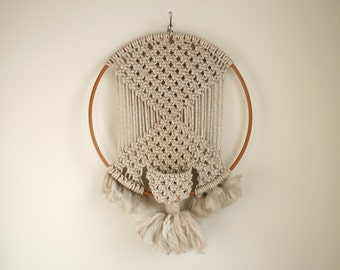 Vintage Macrame Hanging Plant Holder with Wood Loop