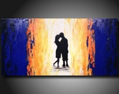 Art original Large abstract painting by artist   Jmjstudio 18 X 36 Inches------ blue --------Textured