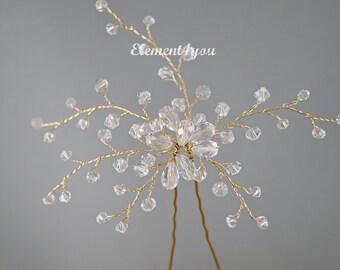 Crystals Vines Bridal Hair Pin  Wedding Hair Pieces Accessory Bride Bridesmaid Gold silver wire Clear crystals pin teardrop Unique