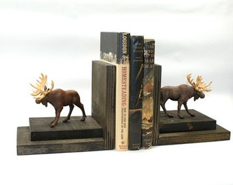 Moose Bookends Wood Wooden Book Ends Bookshelf Woodsy Rustic Ski Lodge Mountain Cabin Hunters Library Shelf Western Ranch Masculine Decor