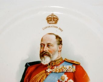 Coronation Plate King Edward VII 1902 Edwardian English Royal Collectible Dinner Serving Plate British United Kingdom Souvenir