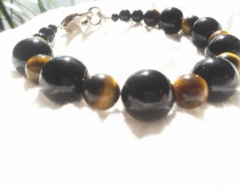 Black Onyx and Tiger's Eye Bracelet