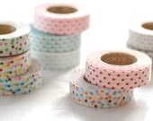 2 DOLLAR SALE-Discontinued-Cute Polka Dots Japanese Masking Tape SINGLE (15m long, 50% more) for baby showers, invitations, party deco