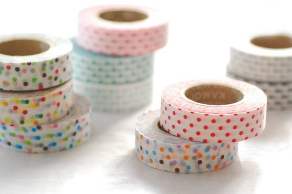 On-Sale-Discontinued-Cute Polka Dots Japanese Masking Tape SINGLE (15m long, 50% more) for baby showers, invitations, party deco, packaging