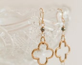 Pyrite and Bronze Quatre foil Earrings