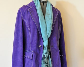 "Violet Small Denim JACKET - Purple Hand Dyed Upcycled Tommy Hilfiger Denim Blazer Jacket - Adult Womens Size 4 Small (40"" chest)"