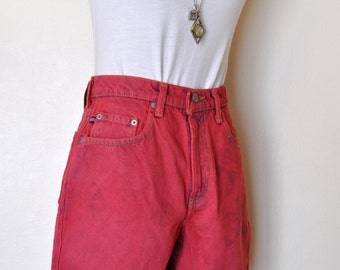 Red Size 6 Ralph Lauren Polo SHORTS - Hand Dyed Red Urban Style Denim Vintage Jean Shorts - Adult Womens Size 6 (26 waist)