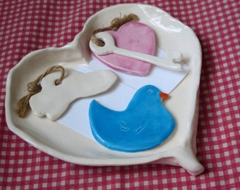 Christmas Gift, Holidays, Custom, Couple Gift, Love,  Anniversary, Wedding Gift, Bowl, Bird, cloud heart, key ,porcelain heart bowl