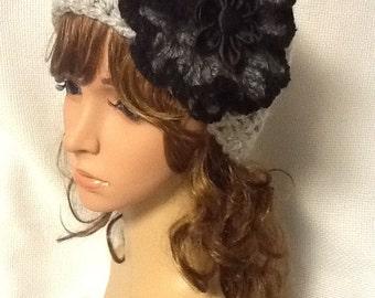 Crocheted Headband With Black Angora Flower