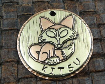 Fox Pet ID Tag, Dog ID Tag, Personalized Pet Collar ID Tag, Dog Tag for Dogs