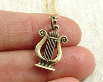 Musical Lyre Necklace, Gold Musical Lyre Charm on a Gold Cable Chain