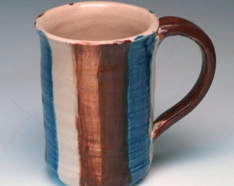 Handmade Striped Mug in Browns and Blues