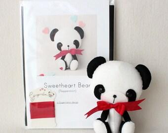 Peppermint Sweetheart Bear Pattern Kit (PURE Felts)