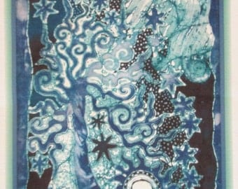 Linen Blue Tree of Life Fabric Quilt Block 10""