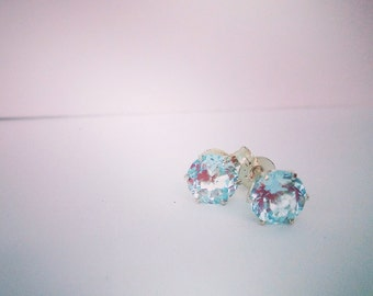 Cooper Pedy Gemstone Stud Earrings Blue Topaz