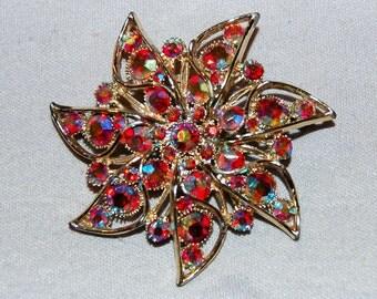 Vintage / Brooch / Flower / Large / Rhinestones / Aurora Borealis / Red / old / jewelry / jewellery