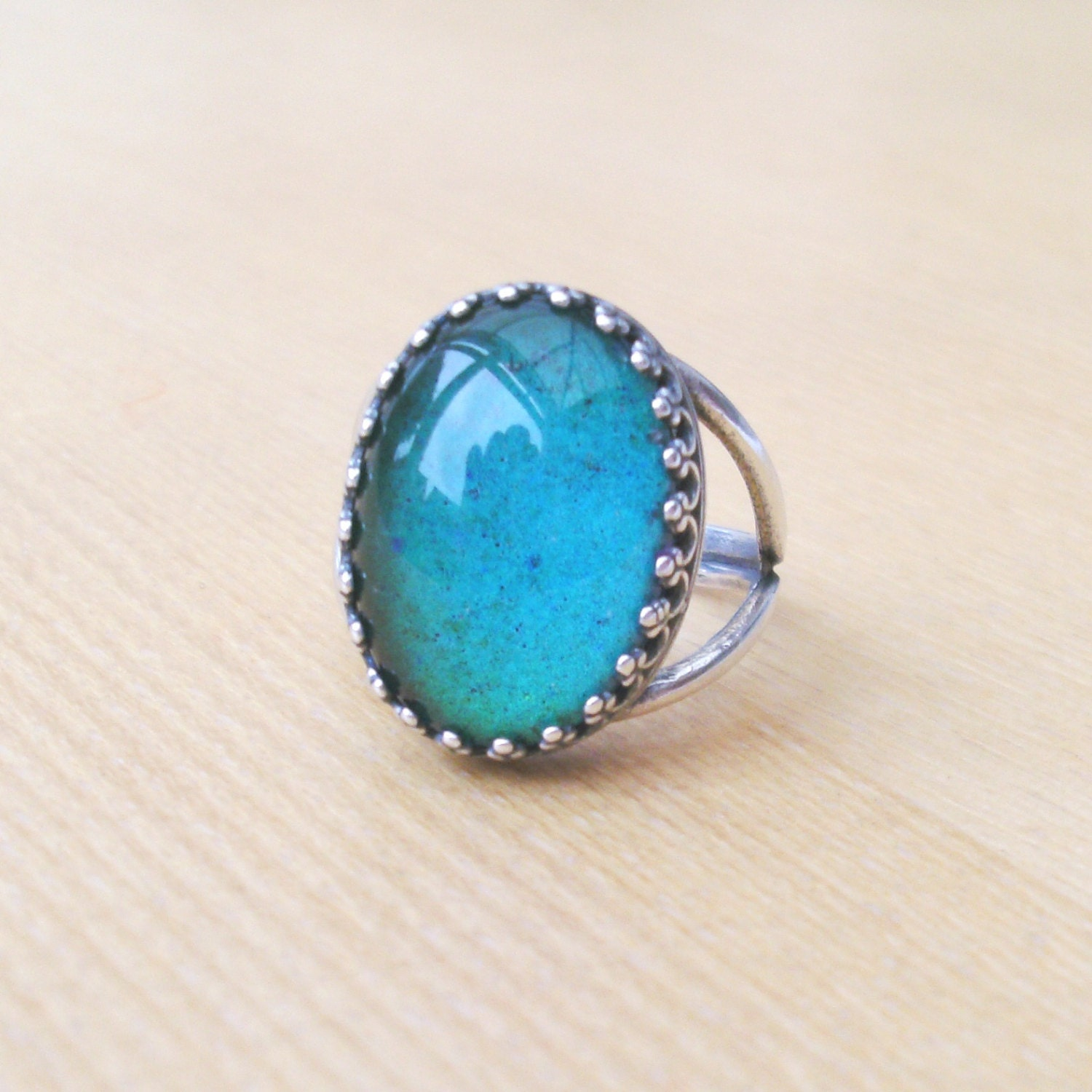 sterling silver mood ring vintage glass mood ring