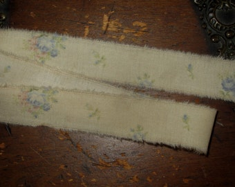 """Tattered Tea Stained Fabric Ribbon  Dainty Blue and Pink Tossed Roses So very vintage  3/4"""""""