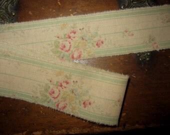 "Tattered Cotton Ribbon  Shabby Pink Roses Green Jadite Stripe Ticking  1-1/2"""