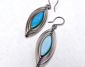 True Blue Herringbone Wrapped Earrings Wire Wrap Earrings Wire Wrapped Jewelry Boho Jewelry Wire Earrings Czech Glass Earrings Lightweight