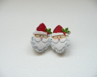 hs-Santa Face w Red Hat and Holly Stud Earrings