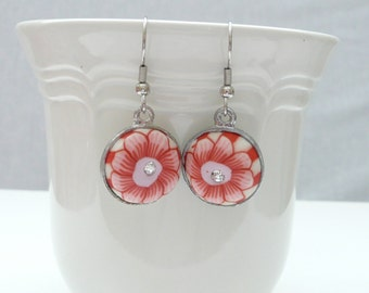 nd-Pink Floral Polymer Clay and Crystal Round Dangle Earrings