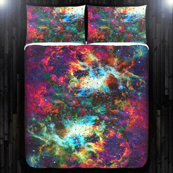 Outer space nebula red galaxy duvet cover bedding queen size for Outer space bedding
