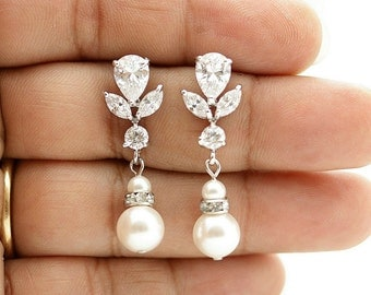Wedding Jewelry Pearl Drop Wedding Earrings Cubic Zirconia Bridal Earrings Swarovski Pearls Crystal Bridal Earrings, Isla